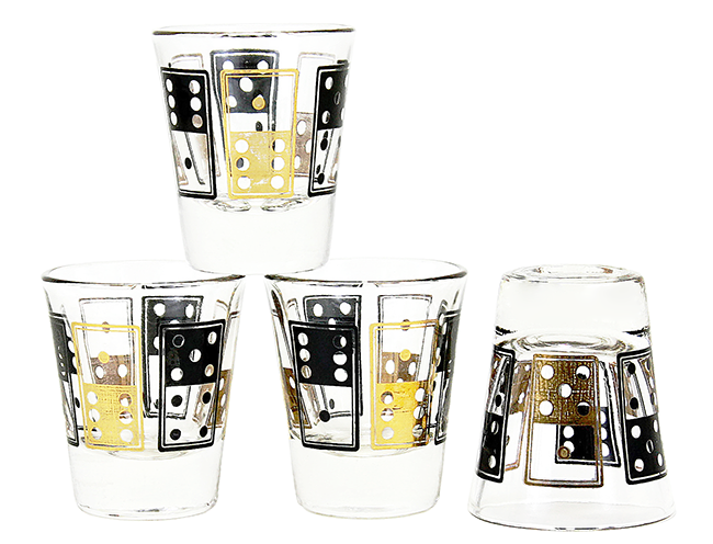 BAR-4108-SZ Dice Shot Glasses, Black, Gold, Anchor Hocking (x4) (1)