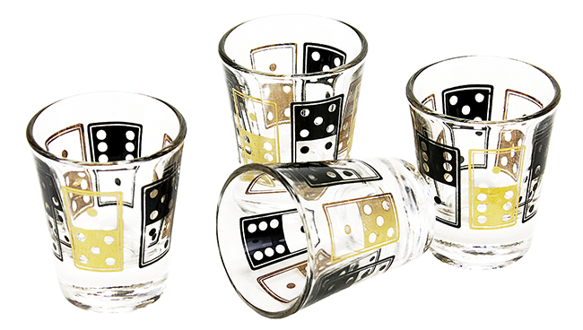 BAR-4108-SZ Dominos Shot Glasses, Black, Gold, Anchor Hocking (x4) (2)