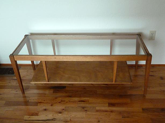 Mid century modern glass top coffee table re staining makeover sheila zeller interiors Used glass coffee table