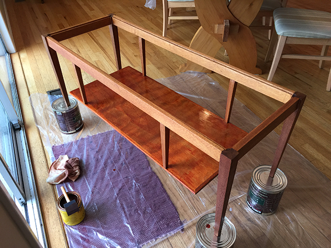 Applying Minwax Gunsmoke Stain - DIY Mid Century Coffee Table