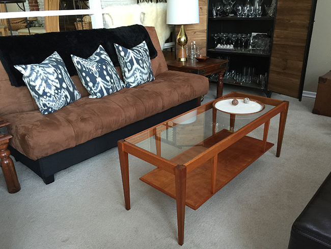 Mid Century Glass Top Coffee Table - DIY Re-Staining - Reveal (1)