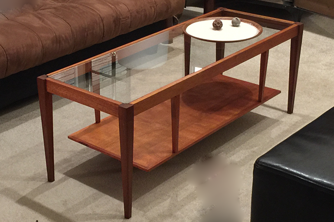 Mid Century Modern Glass Top Coffee Table: Re-Staining Makeover
