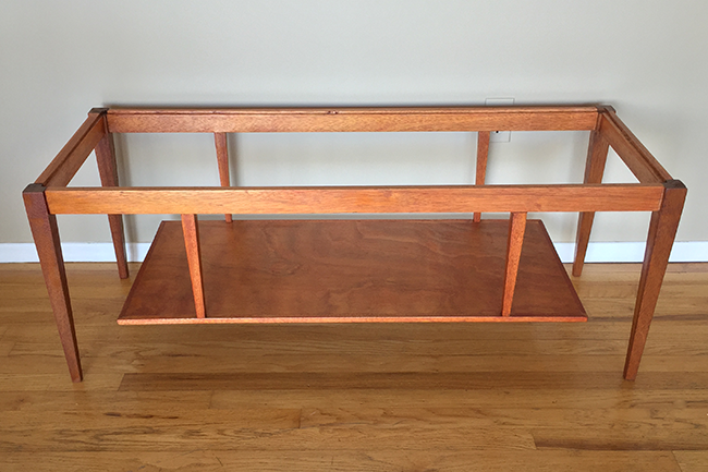 Mid Century Modern Glass Top Coffee Table Re Staining Makeover Sheila Zeller Interiors