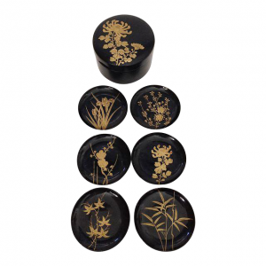 Black Lacquer Coasters - Chairish
